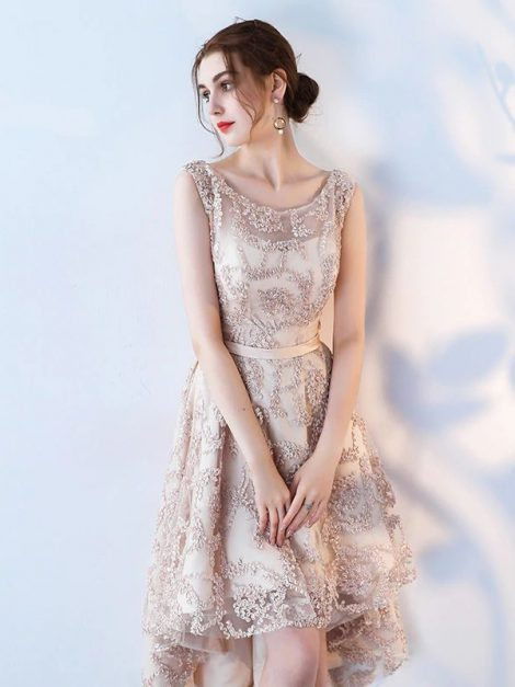 Loretta beige high low vintage style prom dress