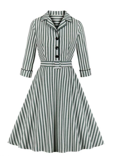 Simone Striped Long Sleeve Retro Dress