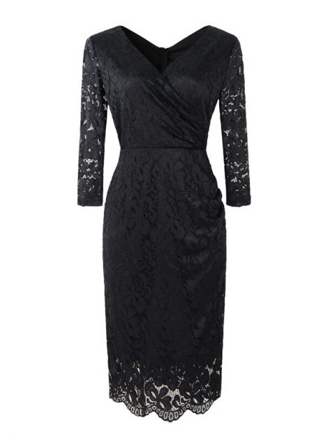 Anna Black Lace Retro Style Pencil Dress