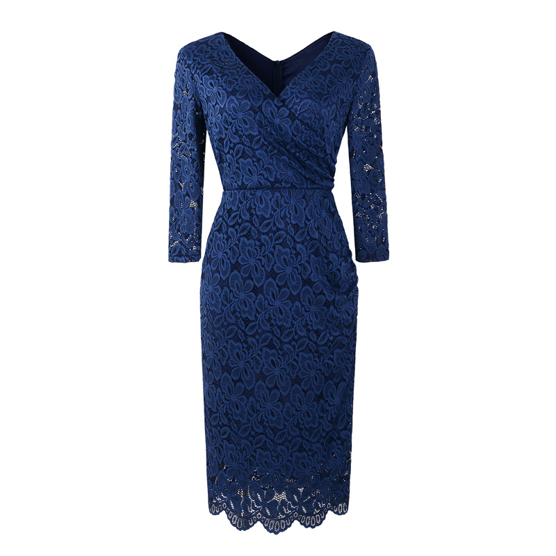 Anna Navy Blue Lace Retro Style Pencil Dress