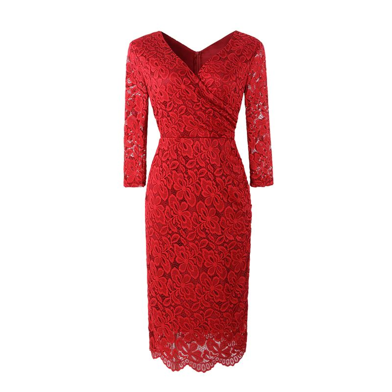 Anna Red Lace Retro Style Pencil Dress