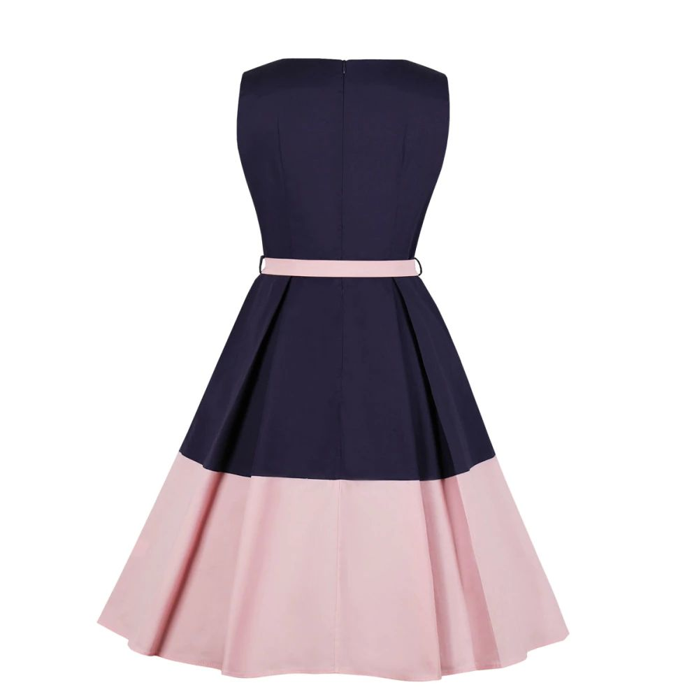 Alison Blue and Pink Block Retro Dress