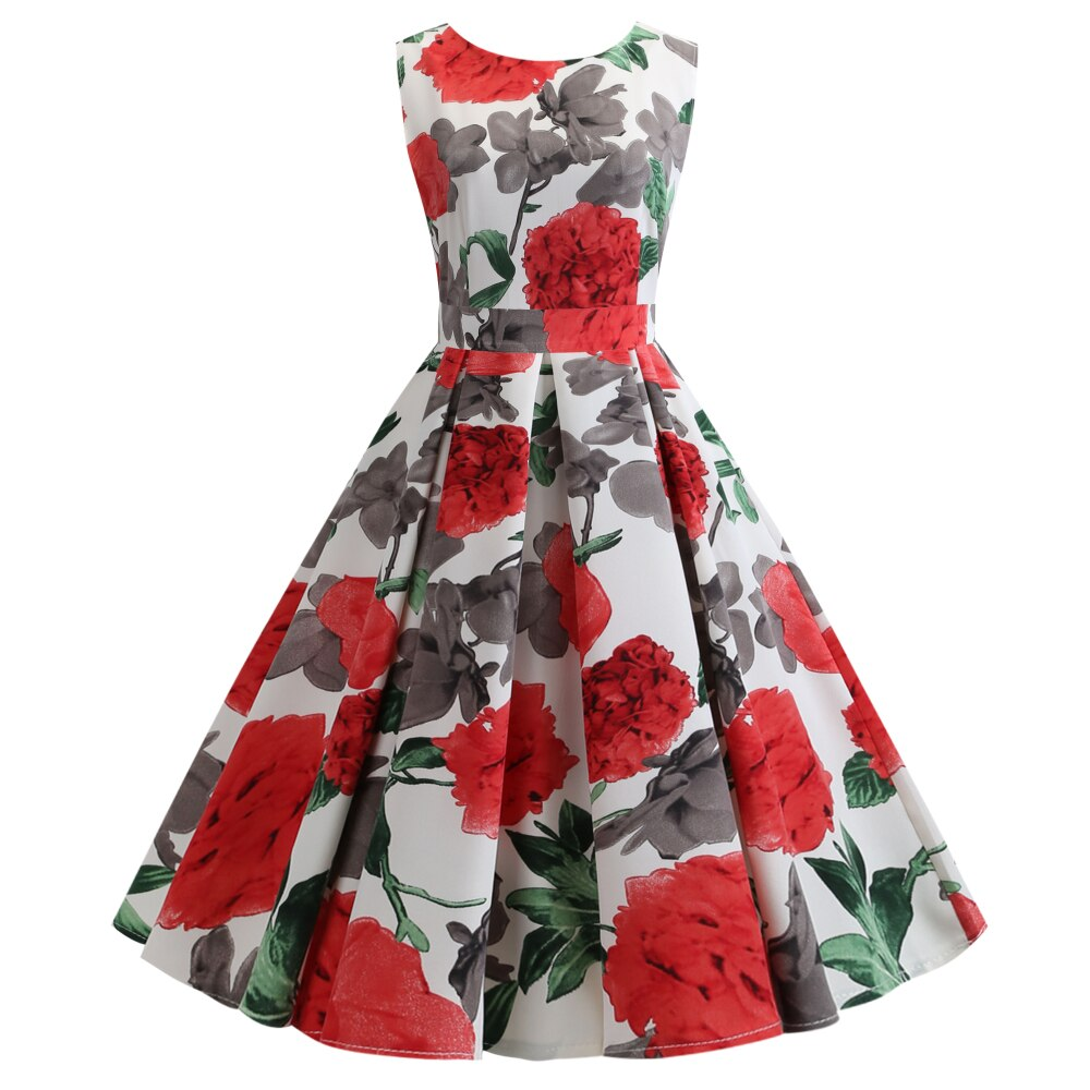 Caitlin Red Rose Vintage Style Dress