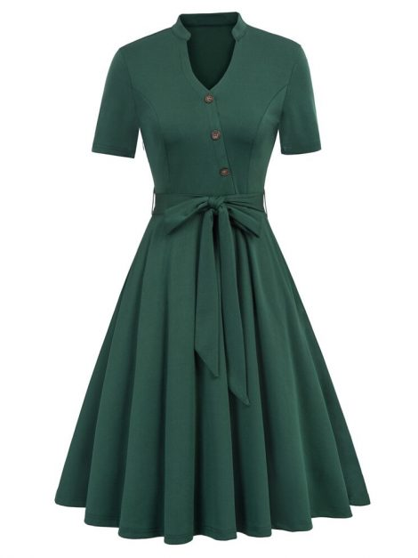 Gabby Forest Green Retro Dress