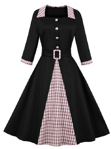 Gemma Plaid Contrast Vintage Style Dress