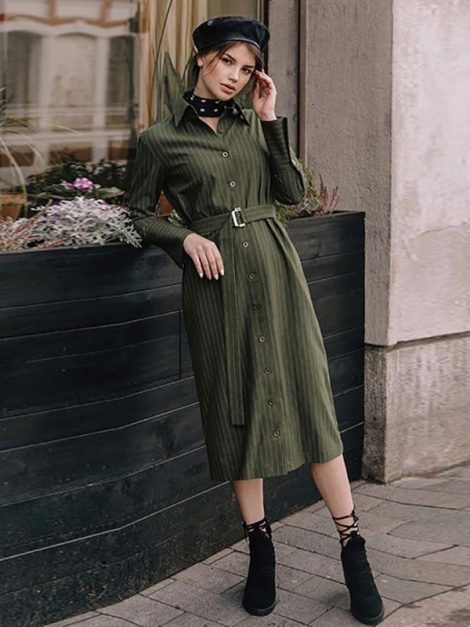 Jessie Army Green Striped Vintage Style Dress