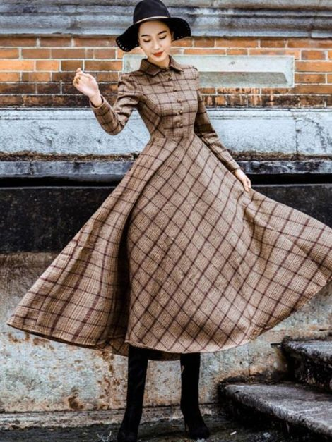 Sabrina Brown Plaid Long Sleeve Retro Dress