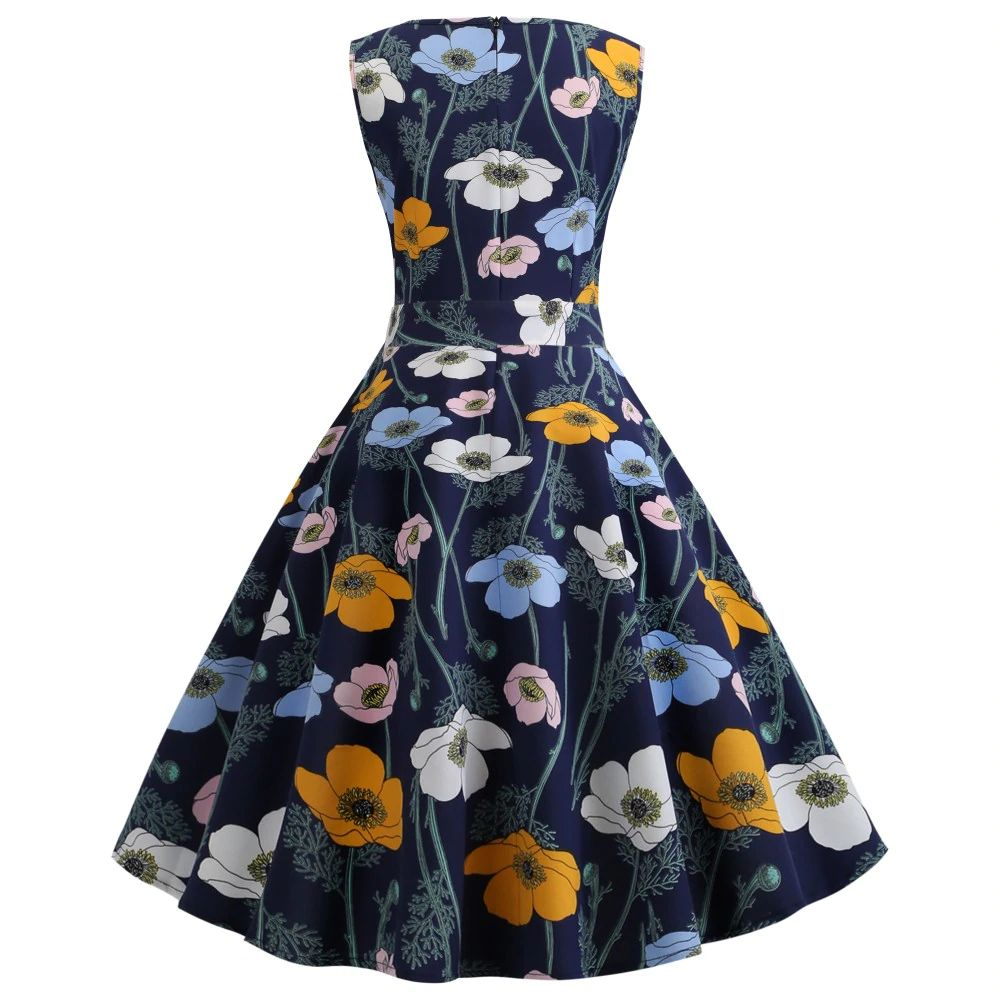 Wild Poppy Blue Floral Retro Dress