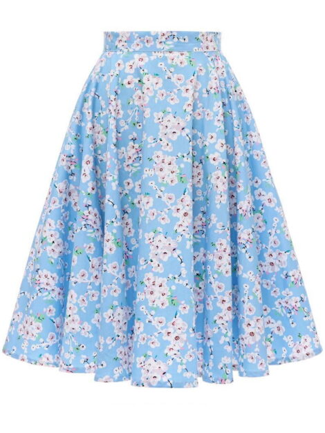 Blue Floral Retro Skirt