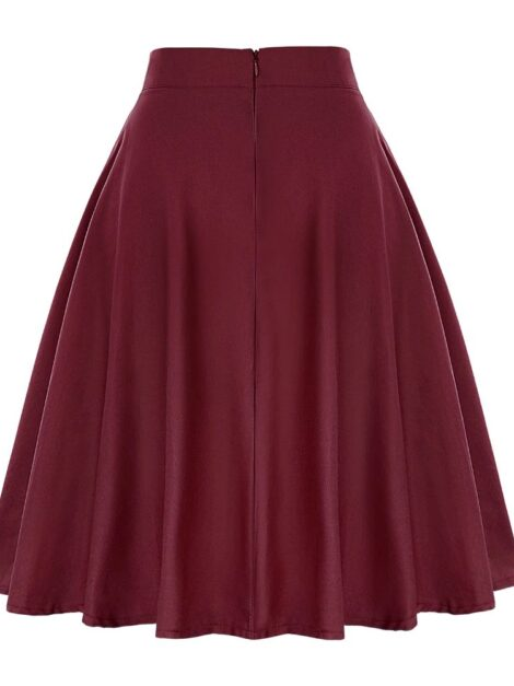 Burgundy Retro Style Skirt 1