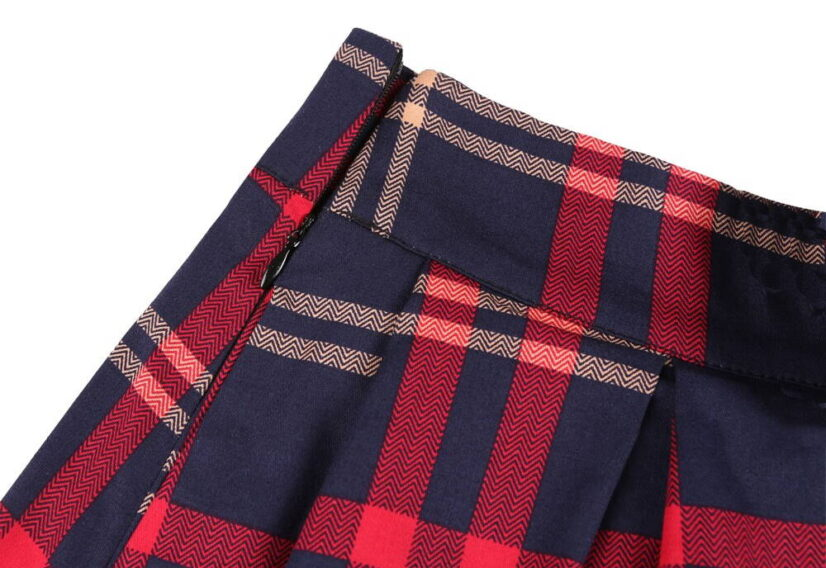 Classic Blue and Red Vintage Style Plaid Skirt 1