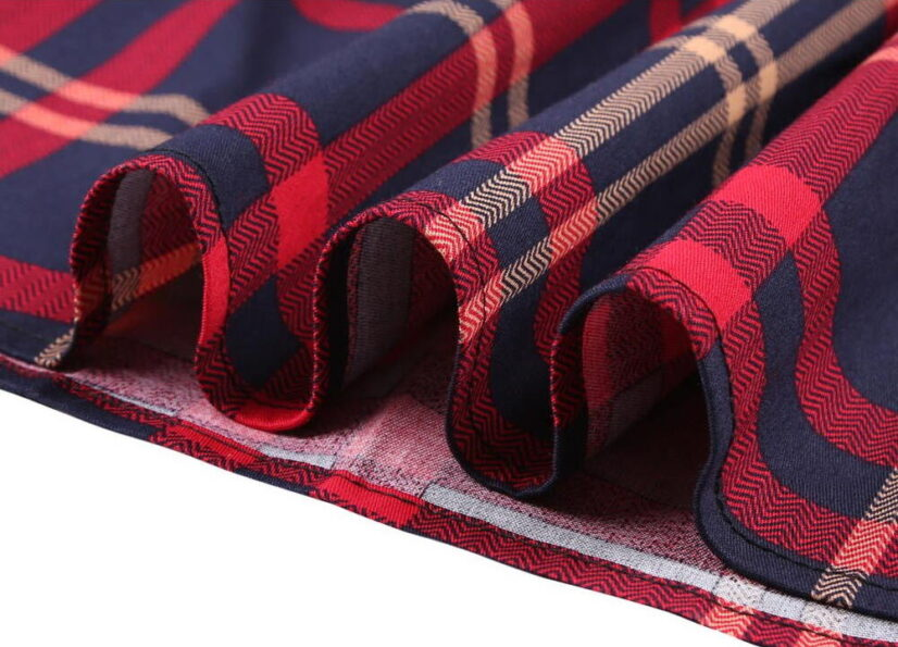 Classic Blue and Red Vintage Style Plaid Skirt 2