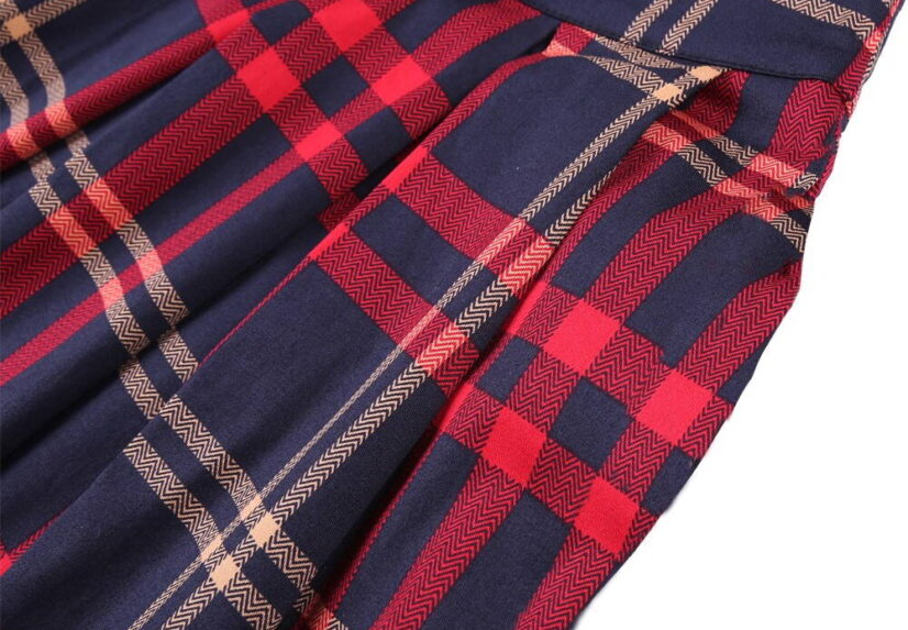 Classic Blue and Red Vintage Style Plaid Skirt 3