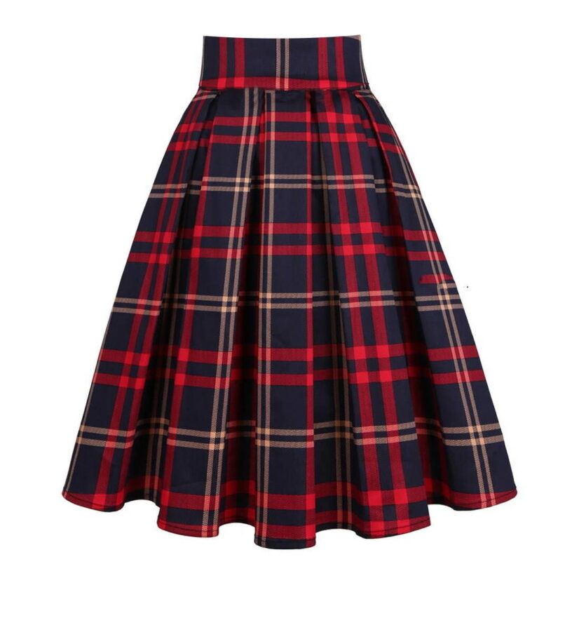 Classic Blue and Red Vintage Style Plaid Skirt