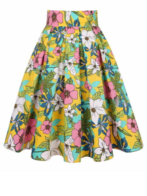 Flower Power Retro Style Skirt