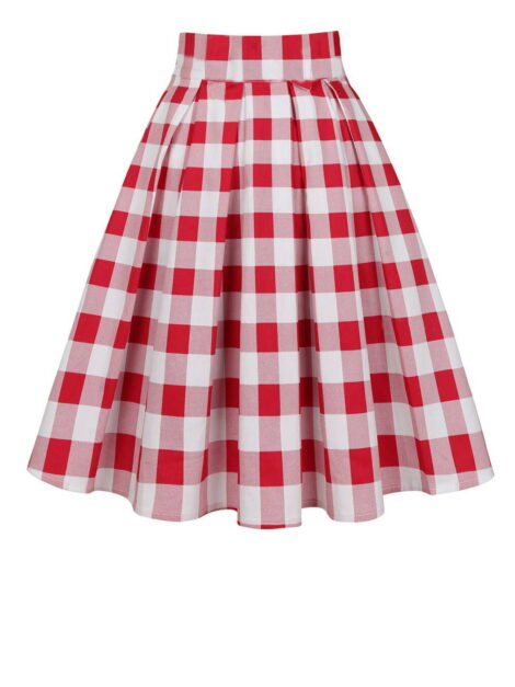 Red and White Gingham Retro skirt