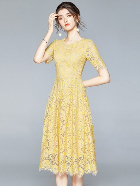 Alice Yellow Lace Party Dress