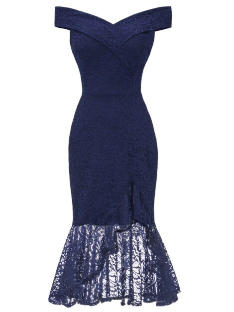Angelina Navy Blue Mermaid Lace Occasion Dress