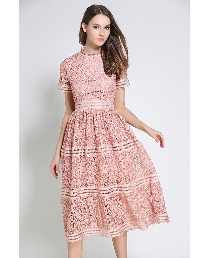 Tilly Dusty Pink Lace Retro Dress