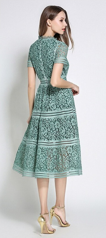 Tilly Green Lace Retro Dress