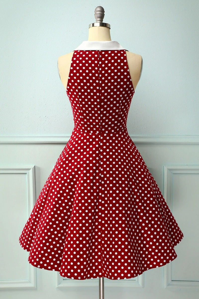 Elaine Red 50s Dress With Polka Dots And Collar