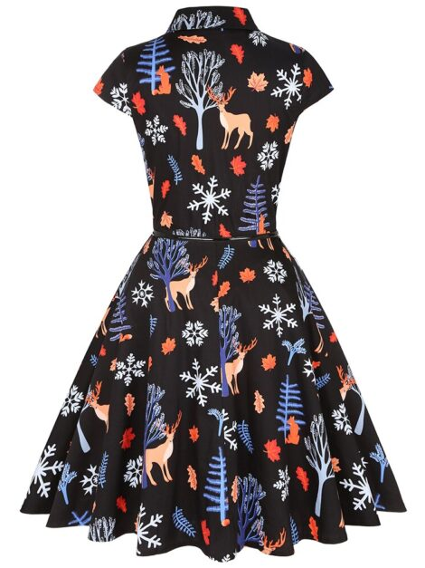 Christmas In The Forest Retro Shirt Dress